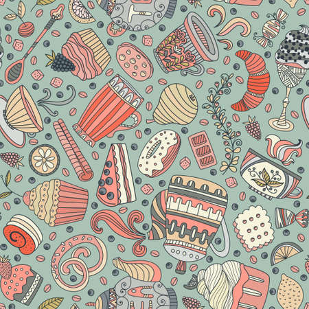cheesecake: Cute seamless pattern with sweets and desserts: cupcake, ice cream, teapot. Doodle style vector. Baked goods, restaurant menu and tea party background.