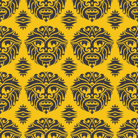 tribal mask seamless pattern unique cultural vector background