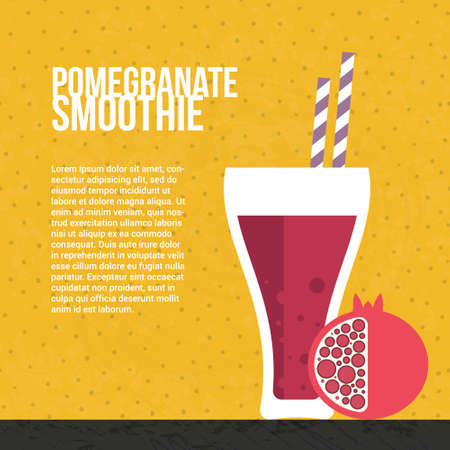 pomegranate juice: Pomegranate smoothie vector concept. Menu element for cafe or restaurant with energetic fresh drink made in flat style. Fresh juice for healthy life. Organic raw shake.