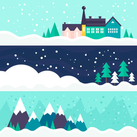 folk village: Winter vector card templates with town, trees and ski trail. Xmas celebration, christmas invitation, new year card design.