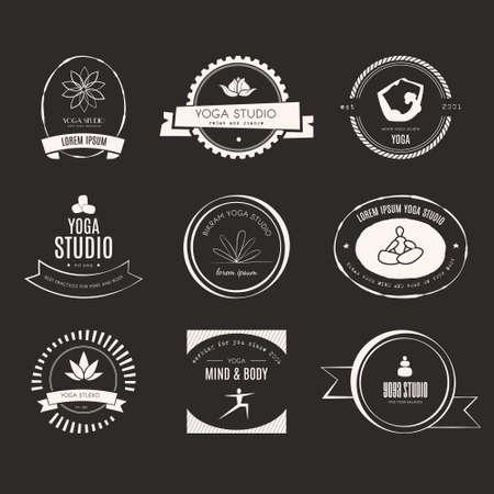 Set of logos for yoga studio or meditation class. Modern fitness badges collection made in vector. Yoga vector logotype template. Healthcare, sport, fitness, spa logo design elements. Anusara, ashtanga, bikram, hatha, hot yoga, vinyasa symbols. Vector