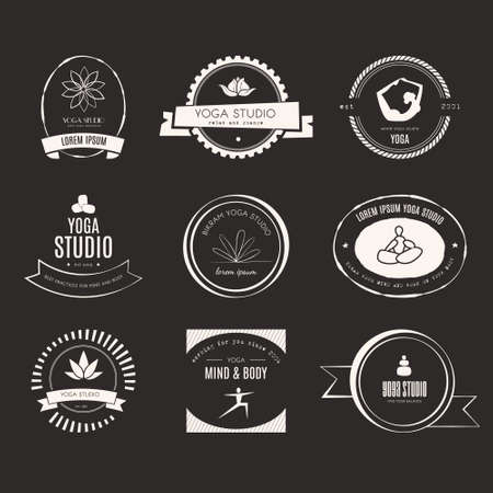yoga class: Set of logos for yoga studio or meditation class. Modern fitness badges collection made in vector. Yoga vector logotype template. Healthcare, sport, fitness, spa logo design elements. Anusara, ashtanga, bikram, hatha, hot yoga, vinyasa symbols. Illustration