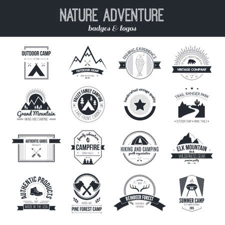 ricreazione: Set di camping vintage e attività all'aperto Vettoriali