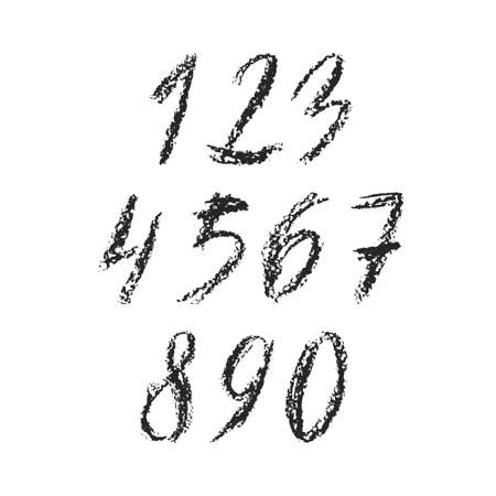 0 9: Hand drawn charcoal font - file with separated numbers from 0 to 9. Real charcoal texture. Illustration
