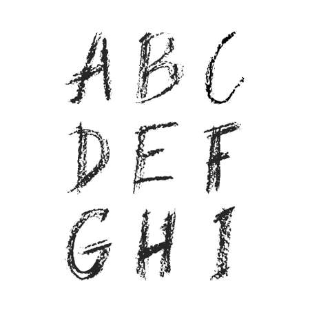Hand drawn charcoal font - file with separated letters A, B, C, D, E, F, G, H, I. Real charcoal texture.