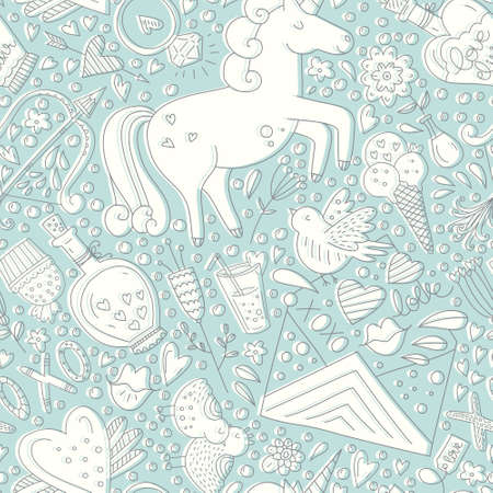 xoxo: Cute romantic seamless pattern with unicorns, hearts and love letters. Perfect wedding invitation , Save the date card element or Valentines Day card design. Illustration