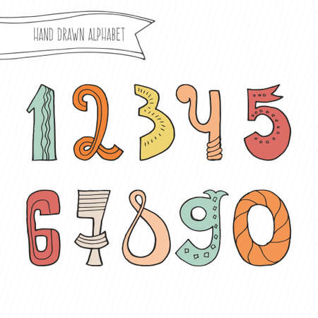0 9: Cute hand drawn numbers for kids made . Doodle math elements from 0 to 9. Isolated characters.