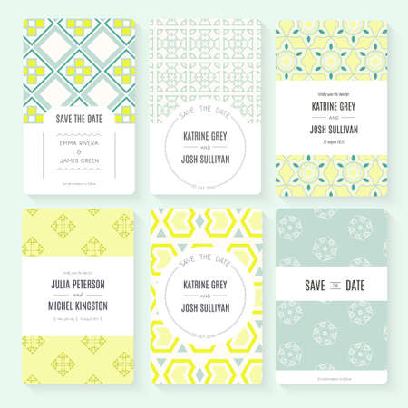 Set of perfect vector card templates. Ideal for Save The Date, baby shower, mothers day, valentines day, birthday cards, invitations. Illustration