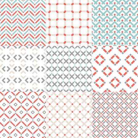 Set of nine vector seamless geometrical patterns. Vintage textures. Decorative background for cards, invitations, web design. Retro digital paper. Illustration