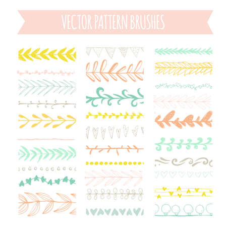 Set of hand drawn pattern brushes. Natural vector brushes. Vector