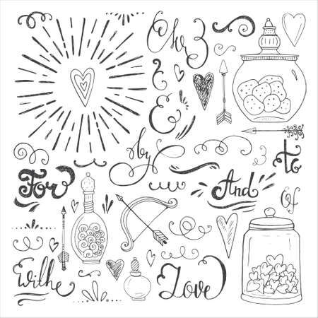 Romantic vector elements. Hand drawn typography, sketched jars and hearts and other objects for valentines card, save the date or wedding card. Vettoriali