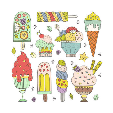 helado caricatura: Colecci�n de dibujos de helado vector dibujado mano linda. Conos y helados de diferentes sabores hechas en el estilo de dibujo.