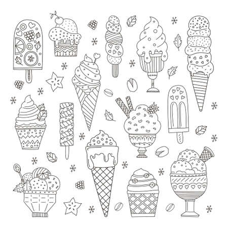 かわいいベクトル手のコレクション描画漫画アイス クリーム。コーンと落書きスタイルで作られてさまざまな風味のアイスクリーム。  イラスト・ベクター素材