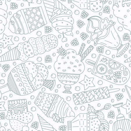 scoop: Cute hand drawn seamless pattern with different types of ice cream. Doodle texture with sweet desserts. Perfect background for cafe or restaurant menu.