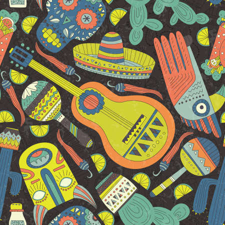 Seamless vector pattern with hand drawn mexican elements - guitar, sombrero, tequila, taco, skull, aztec mask, music instruments. Perfect artistic background for your design. Travel to Mexico texture.
