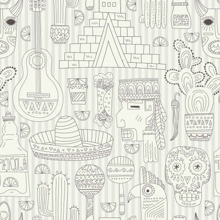 mexican: Seamless vector pattern with hand drawn mexican elements - guitar, sombrero, tequila, taco, skull, aztec mask, music instruments. Perfect artistic background for your design. Travel to Mexico texture.