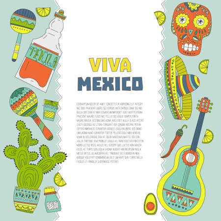 Perfect hand drawn card template with mexican symbols - avocado, cactus, skull, guitar, sombrero, tequila, taco, skull, aztec mask, music instruments. Isolated traditional latino vector element for your design. Ilustrace