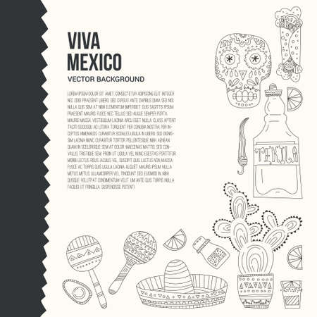 Perfect hand drawn card template with mexican symbols - avocado, cactus, skull, guitar, sombrero, tequila, taco, skull, aztec mask, music instruments. Isolated traditional latino vector element for your design. Ilustracja