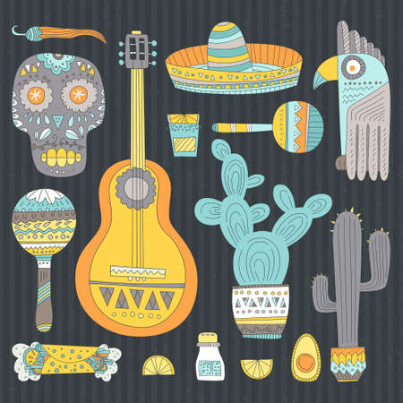 Hand drawn set of mexican symbols - guitar, sombrero, tequila, taco, skull, aztec mask, music instruments. Isolated national elements made in vector. Travel to Mexico icons for cards and web pages. Vector