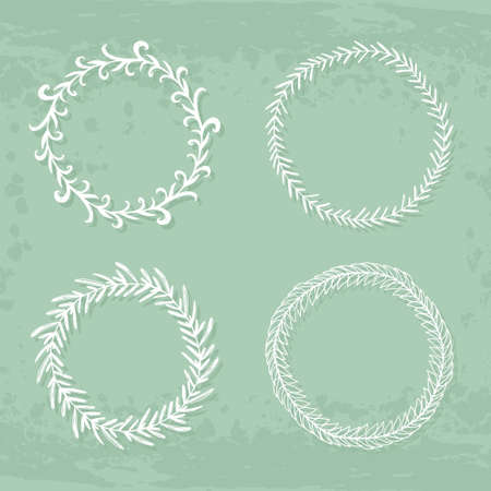 copyspace: Round handdrawn wreaths on texturized vintage background. Collection of clip art vector bouquets. Romantic wreath with copyspace for your text.