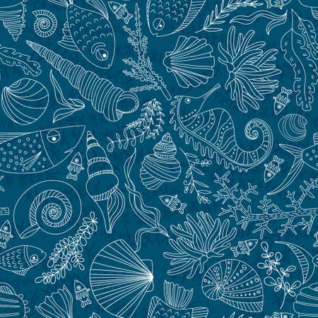 underwater fishes: Vector seamless pattern with hand drawn fishes, corrals, shells, seaweeds, sea-horse and other underwater creatures. Ocean background. Tropical sea life design.