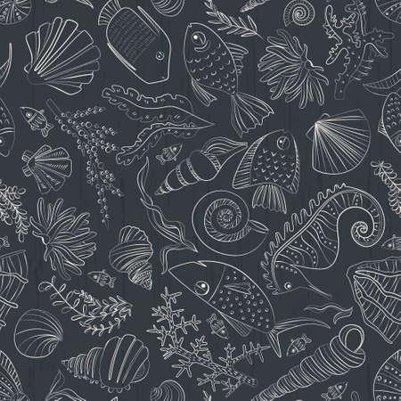 Vector seamless con i pesci disegnati a mano, recinti, conchiglie, alghe, ippocampo e altre creature sottomarine. Sfondo Ocean. Progettazione vita marina tropicale. Archivio Fotografico - 37077062