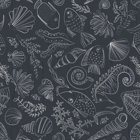 Vector seamless pattern with hand drawn fishes, corrals, shells, seaweeds, sea-horse and other underwater creatures. Ocean background. Tropical sea life design. Vector
