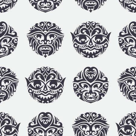 Masque tribal seamless. Culturelle conception vecteur de fond unique. Symboles totémiques et africains traditionnels polynésiens. Banque d'images - 37077068