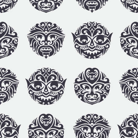 maori: Tribal mask seamless pattern. Unique cultural vector background design. Traditional african and polynesian totem symbols.