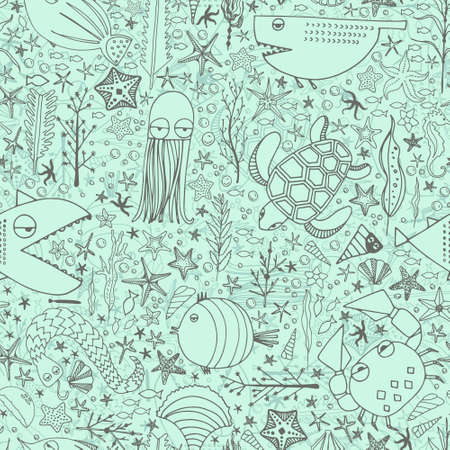 Cute hand drawn seamless pattern with water creatures Vector