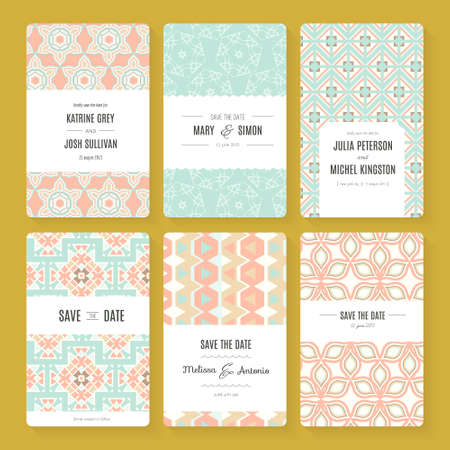 bröllops: Set of perfect vector card templates. Ideal for Save The Date, baby shower, mothers day, valentines day, birthday cards, invitations. Illustration
