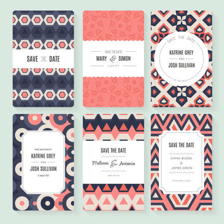 bridal shower: Stylish save the date or wedding invitation card collection. Vector romantic card template. Perfect for wedding invitations, wedding cards, baby shower.