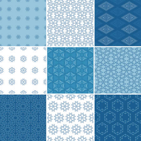 wite: Set of nine seamless geometrical patterns. Vintage textures Illustration