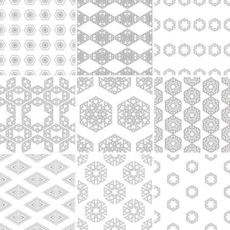 Set van negen vector naadloze geometrische patronen. Vintage texturen. Decoratieve achtergrond voor kaarten, uitnodigingen, web design. Retro digitaal papier.