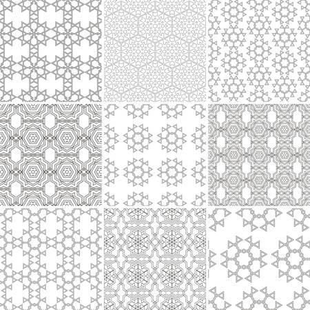 Set of nine seamless geometrical patterns. Vintage textures Illustration
