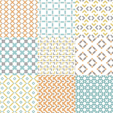 paper art: Set of nine seamless geometrical patterns