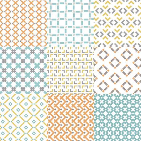 Conjunto de nueve patrones geométricos sin costura