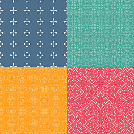 Set of four vector seamless geometrical patterns. Decorative background for cards, invitations, web design. Retro digital paper. Vector
