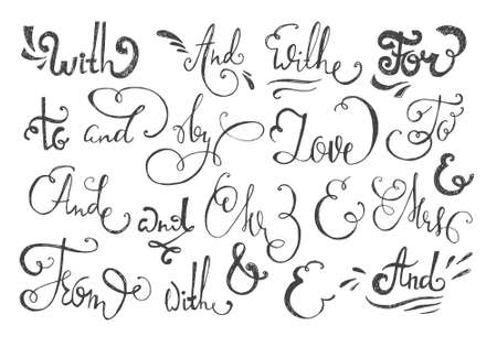mr and mrs: Catchwords and ampersands  hand drawn design elements set - at, mr, mrs, and, to, with.