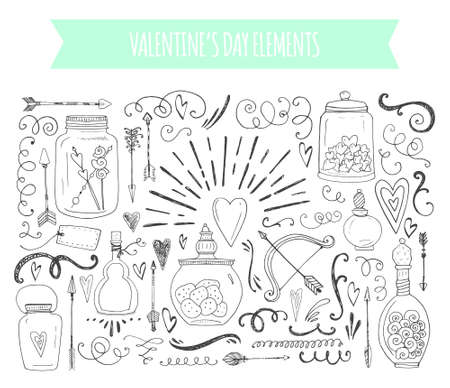 Romantic elements. Hand drawn typography, sketched jars and hearts and other objects