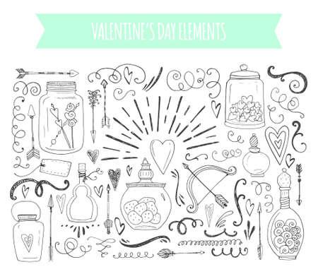 romantique: �l�ments romantiques. Tir� par la main la typographie, des pots et des coeurs et autres objets esquiss�