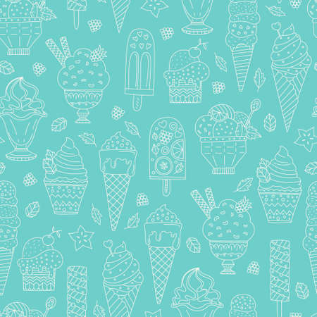 Cute hand drawn seamless pattern with different types of ice cream