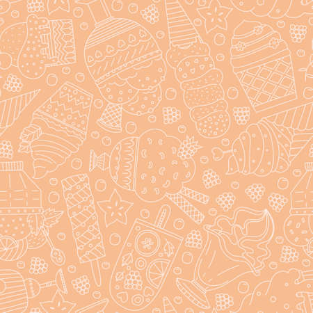 frosting: Cute hand drawn seamless pattern with different types of ice cream