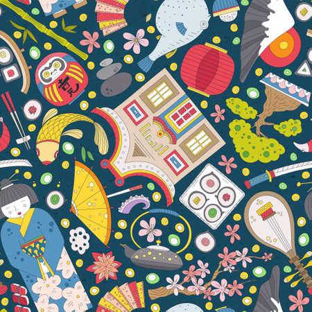 게이샤, 사쿠라, 분재, 랜턴을 포함 손으로 그린 일본어 문자, 원활한 패턴