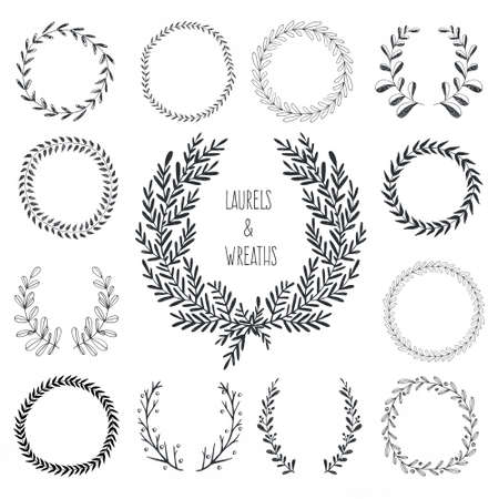 laurel wreath: Collection of hand drawn laurels and wreaths