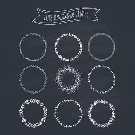 wreath collection: Chalkboard collection of handdrawn floral wreaths. Romantic wreath with copyspace for your text. Save the date, wedding or invitation card design element.