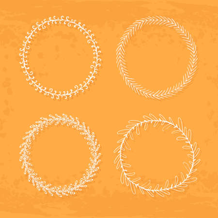 texturized: Round hand drawn wreaths on textured vintage background Illustration