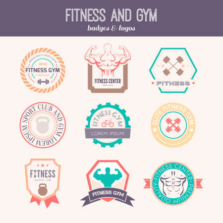 health and fitness: Set of different sports and fitness icon templates
