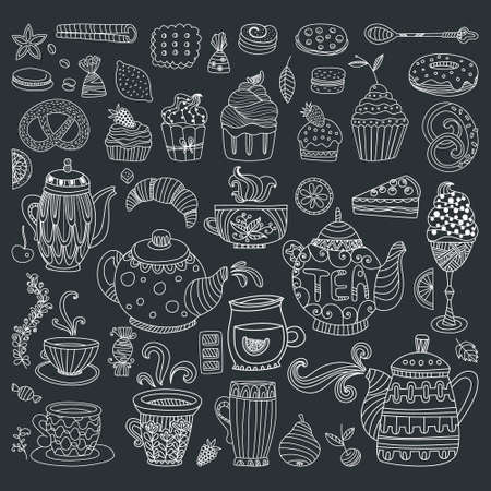 ice tea: Tea, coffee and dessert isolated outline doodle elements in black in white