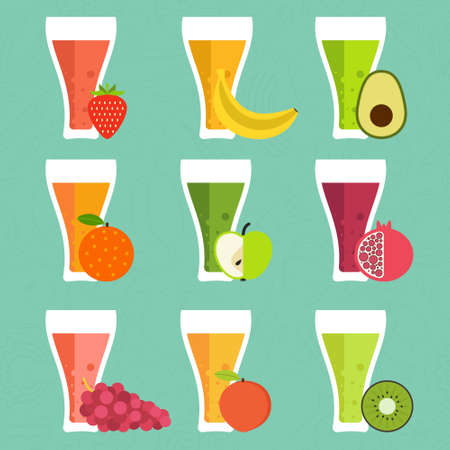 fruit smoothie: Fruit smoothie vector concept. Menu element for cafe or restaurant with energetic fresh drink made in flat style. Fresh juice for healthy life. Organic raw shake.